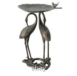 Metal Heron Lily Pad Bird Bath Outdoor Bowl Birdbath Garden Yard Fountain Water