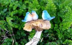 Miniature (3) Three Bluebirds on Mushroom Bird Bath Fairy Garden TO 4402