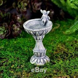 Miniature Fairy Garden Birdbath w Fairy Pick Bird Bath Faerie Gnome GO 17227
