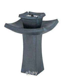 Modern Fountain Patio Outdoor 2 Tier Zen Solar Powered Water Garden Bird Bath