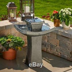 Modern Outdoor 2 Tier Zen Solar Powered Water Fountain Garden Patio Bird Bath
