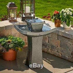 Modern Outdoor 2 Tier Zen Solar Powered Water Fountain Patio Garden Bird Bath