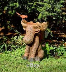 Moose Rustic-Looking Outdoor Garden Birdbath Made of All-Weather Resin