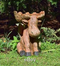 Moose Statue & Birdbath Sculpture Figurine, All-Weather Resin Garden Yard Decor