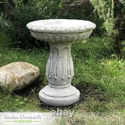 NEW CARVED STONE BIRD BATH Feeder Garden Ornament Patio Home Decor onefold-uk