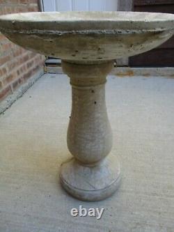 NEW Cement 2 Piece BIRD BATH on 26 Pedestal BEAUTIFUL Lawn & Garden Piece NEW