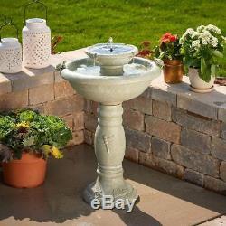 NEW Concrete Weathered Stone Outdoor Turtle Home Garden Solar Fountain Birdbath