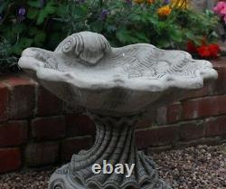 NEW Garden Stone Shell Large Bird Bath, Concrete garden ornament, Stone Bird Bath