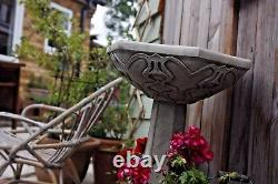 (NEW) Large Art Nouveau Deco Style Bird Bath, Concrete stone, Garden ornament