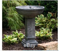 NEW Modern Outdoor Solar Fountain Cast Stone Garden Birdbath Patio Zen Pedestal