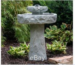 NEW Outdoor Solar Bird Bath Fountain Garden Resin Backyard Cast Tier Decor