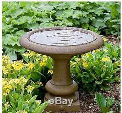 New Bird Bath Garden Decor Aged Limestone Outdoor Birdbath Cast Stone Pedestal