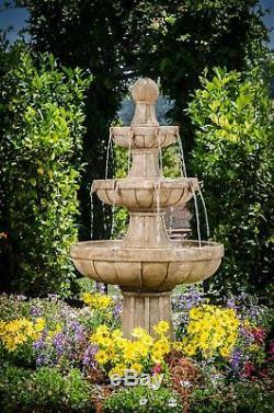 New Outdoor Large Tiered Fountain 3-Tier Waterfall Water Bird Bath Garden Decor