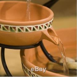 New Terracotta 5-Tier Bowls Solar Fountain Bird Bath Ceramic Garden Decoration