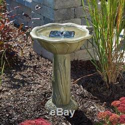 Olive Green Bird Bath Pedestal Solar Powered Pump Water Filter Garden Frog Decor
