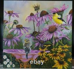 Original Oil Painting Garden Gold Finch Cone Flower Daisy's bird Bath