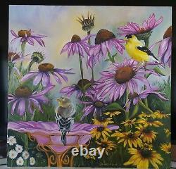 Original oil painting signed gold finch bird bath sunflower garden cone flower