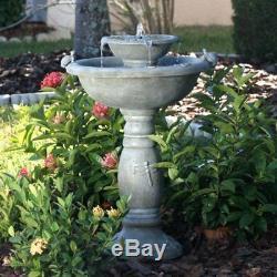 Outdoor 2 Tier Smart Solar Country Gardens Fountain Bird Bath Yard Garden Gift