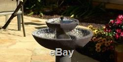 Outdoor 2 Tier Smart Solar Riverstone Fountain Bird Bath Yard Garden Decor Gift
