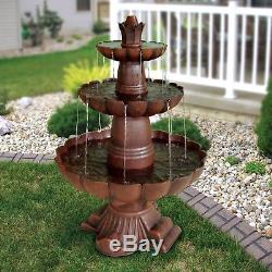 Outdoor 3 Tier Garden Cascading Fountain Bird Bath Bronze Yard Patio Home Décor