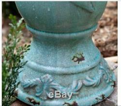 Outdoor Antique Ceramic Bird Bath Pedestal Vintage Garden Decor Water Bowl Blue