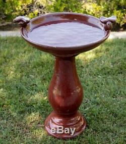Outdoor Bird Bath Antique Ceramic Garden Water Bowl Pedestal Yard Deck Decor Red