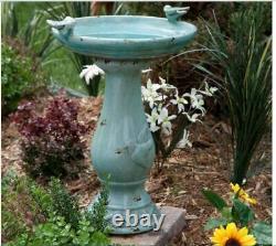 Outdoor Bird Bath Ceramic Vintage Pedestal Garden Distressed Decor Antique Look