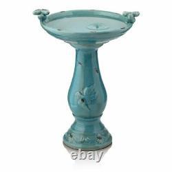 Outdoor Bird Bath Ceramic Vintage Pedestal Garden Yard Decor Antique Turquoise