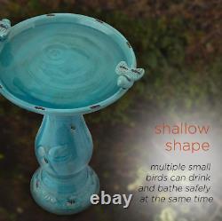 Outdoor Bird Bath Ceramic Vintage Pedestal Garden Yard Decor Antique Water Bowl