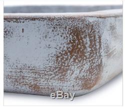 Outdoor Bird Bath Dish Vintage Garden Patio Antique White Distressed Porch Decor
