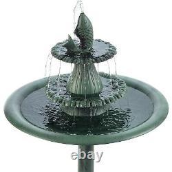 Outdoor Bird Bath Fountain 3 Tier Water Pump Bowl Resin Backyard Garden Decor