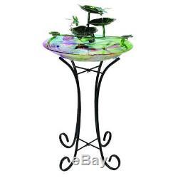 Outdoor Bird Bath Fountain Garden Patio Balcony Decor Dragonfly Glass Metal NEW