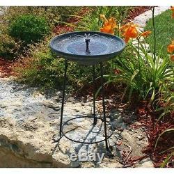 Outdoor Bird Bath Fountain Yard Garden Solar Powered Water Birdbath Cover Plate