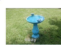 Outdoor Bird Bath Glazed Pedestal Garden Distressed Decor Victorian Ceramic Blue