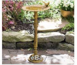 Outdoor Bird Bath Patio Sunflower Yard Cast Iron Pedestal Garden Decor Vintage