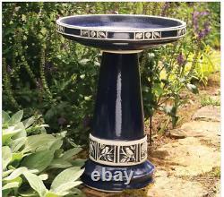 Outdoor Bird Bath Pedestal Yard Decor Ceramic Garden Bowl Blue Vintage Glazed