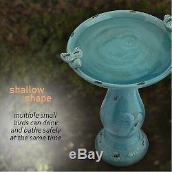 Outdoor Bird Bath Vintage Pedestal Yard Garden Decor Patio Antique Water Bowl