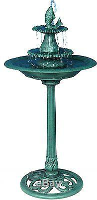 Outdoor Bird Bath Water Fountain 3 Tier Antique Garden Yard Ornament Landscape