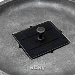 Outdoor Bird Bath Water Fountain Cast Stone Solar Pump Garden Bowl Pedestal Gray