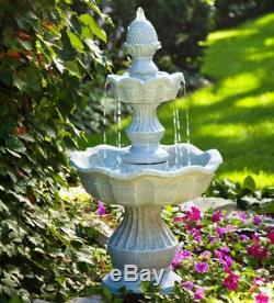 Outdoor Birdbath Fountain Tiered Standing Bird Bath Water Garden Backyard Patio