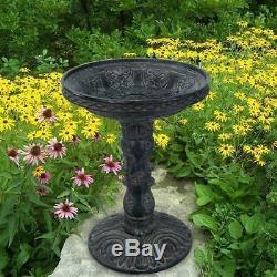 Outdoor Cast Stone Rose Aged Charcoal Height Pedestal Birdbath Garden Yard Decor