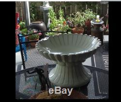 Outdoor Ceramic Bird Bath Garden Patio Antique White Distressed Pedestal Dish