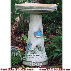 Outdoor Ceramic Bird Bath Garden Pedestal Birdbath Stone Bowl Patio Stand Decor