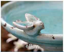 Outdoor Ceramic Bird Bath Pedestal Garden Yard Decor Lawn Patio Distressed