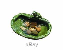 Outdoor Ceramic Solar Water Fountain Frog Bird Bath Patio Garden Yard Lawn Decor