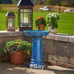 Outdoor Decor Garden Birdbath Handcrafted Ceramic Blue Transitions Glaze