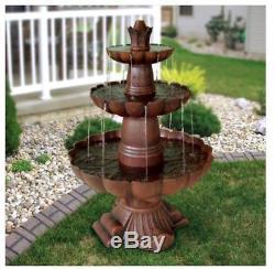 Outdoor Fountain 3-Tiered Water Pump Flowing Garden Yard Decor Birdbath Pond New