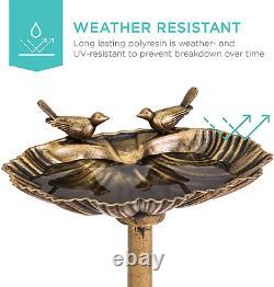 Outdoor Fountain Garden Decor Planter Water Bird Bath Birdbath Decoration Gold