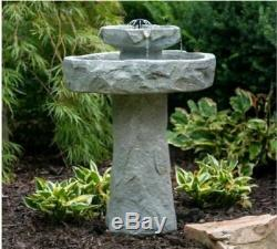 Outdoor Fountain Solar On Demand Stone Resin Bird Bath Patio Garden Backyard New