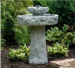 Outdoor Fountain Solar On Demand Stone Resin Bird Bath Patio Garden New
